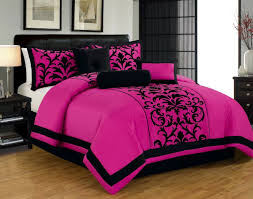 donna king size 8 piece damask flocking over sized comforter bedding set pink black com