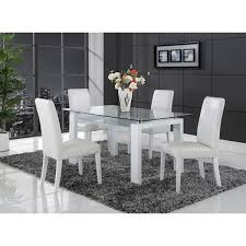 Glass top dining tables Chairs Shop White Solid Wood Glasstop Dining Table Free Shipping Today Overstockcom 9178088 Overstock Shop White Solid Wood Glasstop Dining Table Free Shipping Today