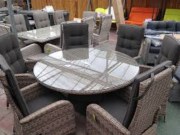 out of stock 6 seater round reclining dining set in cappuccino rattan