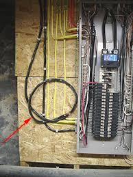how to install a 50 amp 2 pole circuit breaker to power a sub Wiring A Homeline Service Panel main circuit breaker panel with cover removed and wire for future sub panel nearby Electrical Wiring Main Service Panel