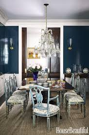Country dining room ideas Ivchic Frenchcountrydiningroommahogany Wood Dining Table Refurbished Vintage Dining Chairs Leopard Print Tulip Teal Navy Blue Walls Wainscotting Ideas Shop Shop Room Ideas Frenchcountrydiningroommahogany Wood Dining Table Refurbished