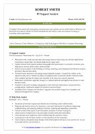 It Support Analyst Resume Samples Qwikresume