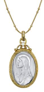 gold and silver mary medallion necklace