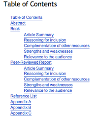 it report structure research learning online table of contents sample b