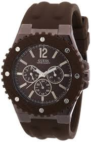 guess men s watch shop for guess men s watch at twenga co uk guess men s w11619g3 watch xl brown dial analogue display and overdrive multifunction brown silicone strap
