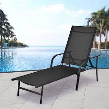 costway pool chaise lounge chair recliner patio furniture with adjustable back pool chaise lounge n59