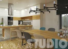 salon z kuchnią w jasnym drewnie zdjęcie od mikoŁajskastudio jadalnia styl skandynawski mikoŁajskastudio