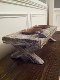 raised dog bowl dish feeder elevated stand rustic distressed whitewashed hout