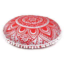 Ethnic floor cushions Kilim Red Silver Living Room Bohemian Decorative Floor Cushion Cover Boho Round Pillow Cases Pompom Throws Online Insurancerepairservicesnet Red Silver Living Room Bohemian Decorative Floor Cushion Cover Boho