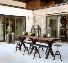 rustic outdoor dining table. Rustic Outdoor Table And Chairs. Decor Patio With Sliding Door Furniture Stone Wall Dining