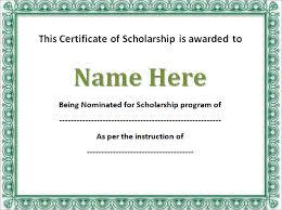 scholarship templates scholarship certificate template 9 scholarship certificate templates