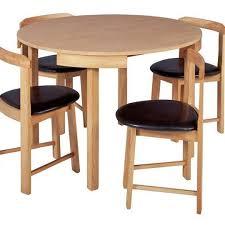 hygena alena circular solid wood table 4 chairs oak