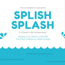 White With Water Pool Party Invitation - Templates By Canva