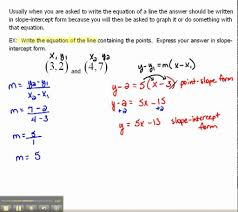 write an equation of a line in slope intercept form 1 6 you prob slope intercept