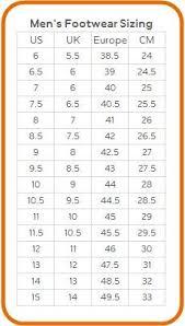 Nike Men Shoes Size Chart Tritak Sports Tritak Sports Nike Foot Sizing Chart