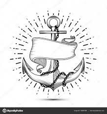 винтаж якорь с лентой эскиз сейлор тату векторные иллюстрации