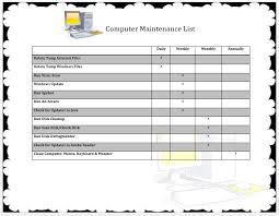 Maintenance Report Template Computer Maintenance List Template Computer Maintenance