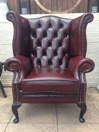 queen anne chesterfield wingback armchair chair in red leather oxblood l k