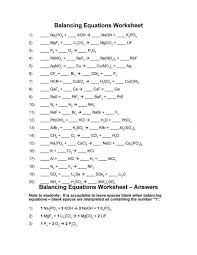balancing chemical equations worksheets answers regard worksheet to wor medium size