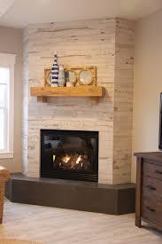 wood look ceramic tile corner fireplace