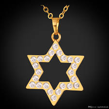 whole u7 star of david pendant necklace gold plated rhinestone fashion crystal jewish necklace for women men magen david jewelry p199 silver pendant
