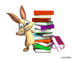 cute bunny cartoon character with book stack
