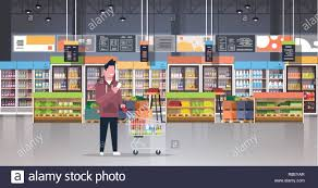 Grocery Store Product List Supermarket Man Customer Checking Shopping List Carrying Trolley
