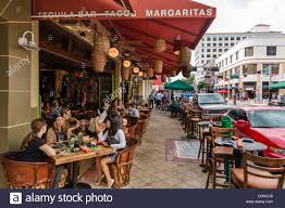 Sidewalk restaurant on clematis street in historic downtown west palm beach treasure coast florida usa