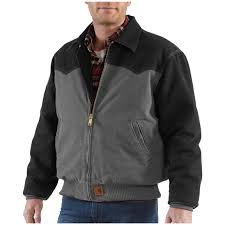 men s carhartt workwear sandstone santa fe jacket gravel black