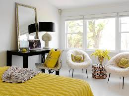 View in gallery Fun yellow accents in the black and white bedroom