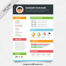 Graphic Resume Templates Cool Colors Resume Template Vector Free Download