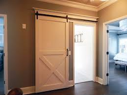 modern half x barn door finished in ben moore white dove