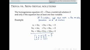 geneous and nongeneous systems of linear equations