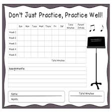 Music Charts Instrumental Monthly Music Practice Chart