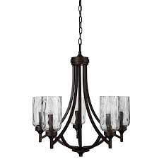 allen roth latchbury 5 light aged bronze craftsman textured glass shaded chandelier