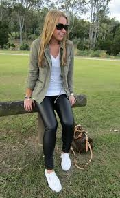 another black leather leggings outfit idea is to wear a utilitarian jacket i personally love how cool and casual this outfit looks on anyone
