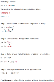 write the equation for a line that has a slope of 3 and p through the point 2 1