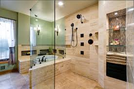 beige subway tile beige tile glass wall shower green walls hand shower recessed lighting sheer curtains shower bench small bathtub three wall alcove tub
