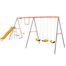 best china manufacturer made outdoor metal swing set with slide