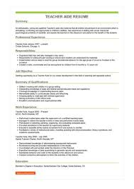 Teachers Aide Resumes Sample Teacher Aide Resume