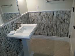 bathrooms remodeling. Astonishing Custom Small Bathroom Remodeling Ideas With White Home Wondrous Design Creative Tile Wainscoting And Pedestal Washbasin Under Stainless Bathrooms
