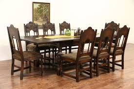 set of 8 antique dining room chairs. english tudor carved oak 1925 antique dining set, table \u0026 8 chairs set of room 4