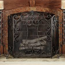 fireplace screen candle holder awesome living room copper decorative 3 panel grate of