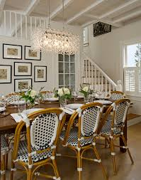 woven dining room chairs gorgeous inspiration terrific dining e implemented with clear beam crystal chandelier above dark hardwood table surrounded by