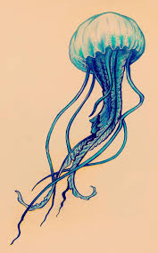 Simple jellyfish (ink and watercolor pencil)