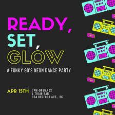 Dance Invitation Ideas Glow 90s Neon Dance Party Invitation Templates By Canva