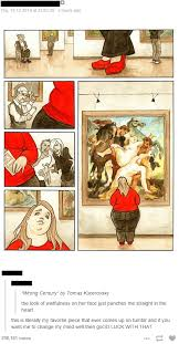 ina s literal favorite piece ever shows a fat woman admiring an old painting of fat women being fondled by fit men
