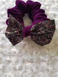 handmade purple velvet scrunchies ponytail holder with glitter faux leather bow