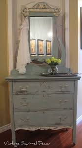 Antique dresser with mirror painted in Annie Sloan Duck Egg and Old White  and washed with  Shabby Chic ...