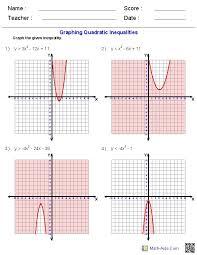 algebra 2 quadratic functions and inequalities worksheets